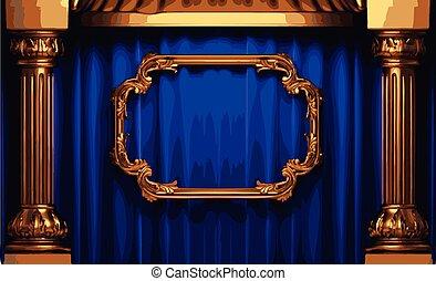 青, 金, フレーム, ベクトル, カーテン, ステージ