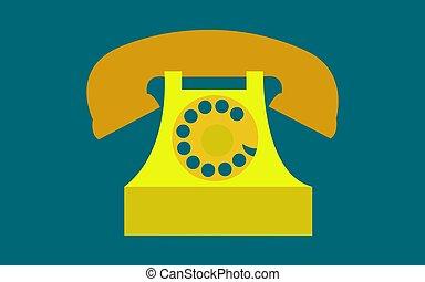 青, 金, ベクトル, illustration., 骨董品, 古代, チューブ, 型, 古い, 暗い, 電話, 黄色, バックグラウンド。, レトロ, ディスク, 情報通