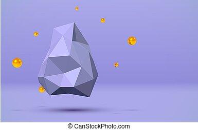 青, 金, ボール, のまわり, 抽象的, 飛行, poly, 低い, 背景, 岩, 3d