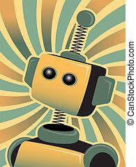 青, 金, ロボット, の上, 顔つき, accented