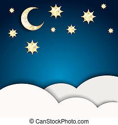 青, 金, 星, 月, 背景, クリスマス, night.