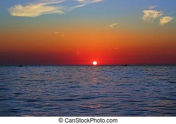 青, 金, 海景, 空, 海洋, 日の出, 海, 赤