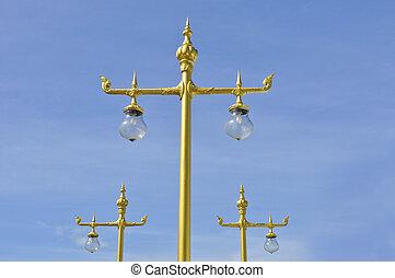 青, 金, 空, ランプ, 通り, タイ人