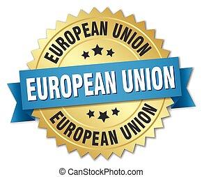 青, 金, 組合, バッジ, ラウンド, リボン, ヨーロッパ