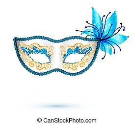 青, 金, 花, カーニバルマスク, 白, きらめき