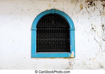 青, 鉄製品, バー, 古い, handworked, ペイントされた, 窓
