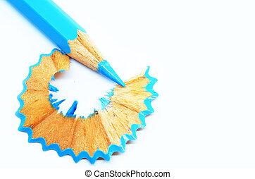 青, 鉛筆の色, 木製のshavings, 削られる