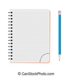 青, 鉛筆, ノート, ベクトル
