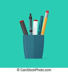 青, 鉛筆, ペン, clipart, 平ら, 隔離された, イラスト, ∥あるいは∥, ガラス, ベクトル, 文房具,...