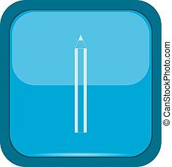 青, 鉛筆, ボタン, アイコン