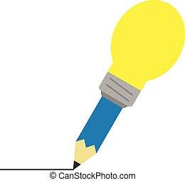 青, 鉛筆, ライト, 先端, 電球, 線画