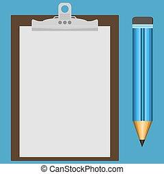 青, 鉛筆, alongside., ペーパー, クリップボード, ブランク, 置かれた, 白