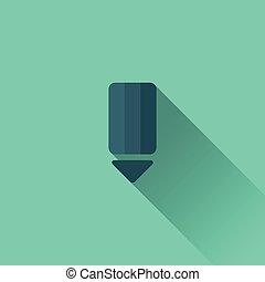 青, 鉛筆, icon., デザイン, 平ら