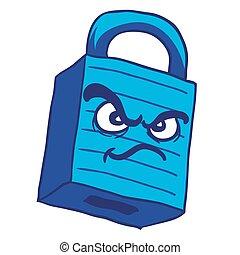 青, 錠, 怒る
