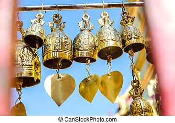 青, 鐘, 仏教, 空, に対して, 寺院
