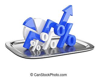 青, 開発, トレー。, 成功, ビジネス, レストラン, 概念, パーセント, グラフ, 図, 広場, サイン, cloche.