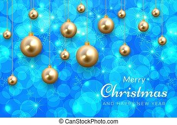 青, 陽気, 装飾, 金, 背景, クリスマス, きらめき, 12月, 祝福, ボール, 休日, 冬