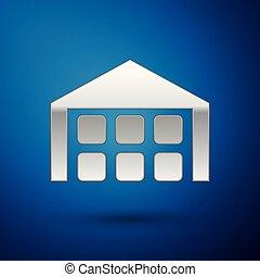 青, 隔離された, イラスト, バックグラウンド。, ベクトル, 倉庫, 銀, アイコン