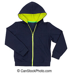 青, 隔離された, デザイン, hoodie, 前部, 白