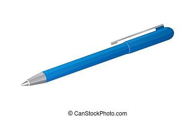 青, 隔離された, バックグラウンド。, ペン, ベクトル, 白