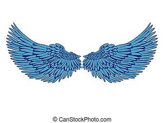 青, 隔離された, ベクトル, 対, 白, 翼
