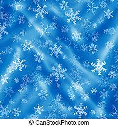 青, 雪片, 背景, ひだのある布