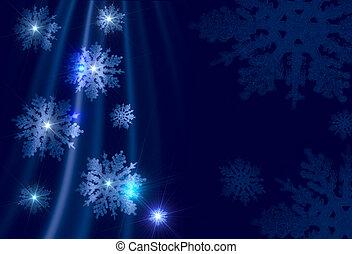 青, 雪片, -, 銀のようである, 背景, クリスマス