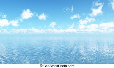 青, 雲, ふんわりしている, 海洋, 白, 風景, 3d