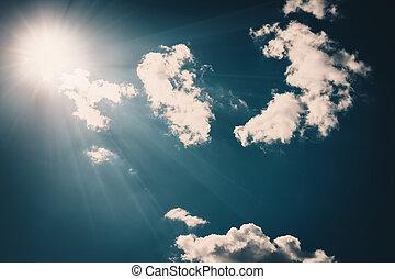 青, 雲, クローズアップ, 空