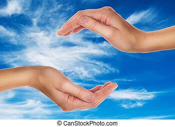青, 雲, 上に, 空, 女性手