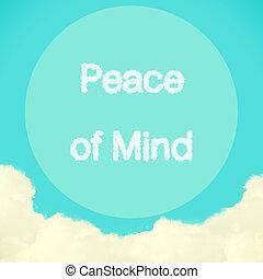 青, 雲, 作成される, 空, 平和, 心, 効果, フィルター, レトロ, メッセージ