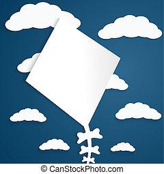 青, 雲, 凧, 背景