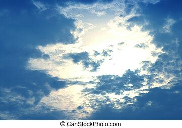 青, 雲, 抽象的, 空