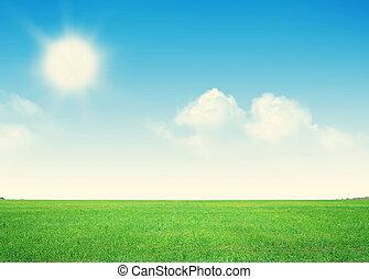 青, 雲, 空フィールド, 緑の草, 無限