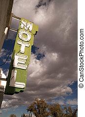 青, 雲, 空, モーテル, ネオン, billowing, 印, 白, ゆとり