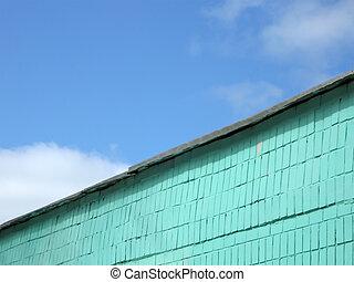 青, 雲, 空, 壁, 緑, れんが