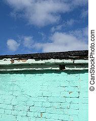青, 雲, 空, 壁, 緑, 古い, れんが
