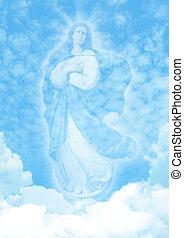 青, 雲, 空, 背中, 聖母マリア