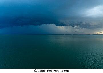 青, 雲, 雨, ありなさい, 落ちる, ∥, sea.