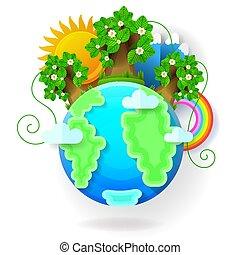青, 雲, globe., イラスト, 惑星, ベクトル, 地球
