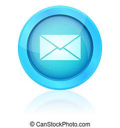 青, 電子メール, ボタン, ベクトル