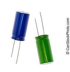 青, 電子, 緑, コンデンサー