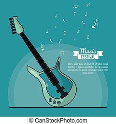 青, 電気である, 祝祭, ポスター, ギター, 音楽, 背景