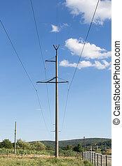 青, 電気, 空, に対して, 高く, 駅, 電圧, 線