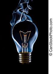青, 電球, ランプ, 煙