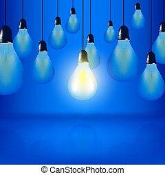 青, 電球, vector:, 概念, 多数, ライト, 掛かること, 1(人・つ), 白熱, デザイン, 背景, コード, 電球
