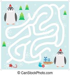 青, 面白い, ペンギン, 雪片, 迷路, クリスマスの ギフト, バックグラウンド。, ゲーム, ベクトル, 赤い帽子, 子供, 幼稚園, 冬