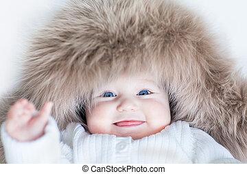 青, 面白い, 目, 冬, かわいい, 身に着けていること, 大きい, 巨大, 女の赤ん坊, おや