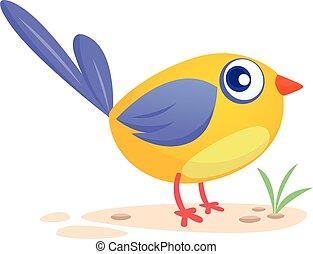 青, 面白い, cartoon., イラスト, ベクトル, 鳥
