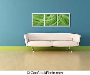 青, 革, 白い部屋, ソファー